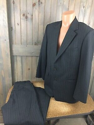 BROOKS BROTHERS STRETCH 40 R Wool 2 Button Suit Gray  33x30 Striped Pleat Cuff