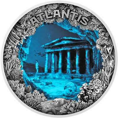 2019 Atlantis - The Sunken City 2oz .999 Antiqued Silver Coin - Dome Shaped