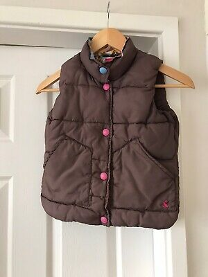 Girls Joules Padded Gilet Bodywarmer Brown Age 6 Years Blue Floral Lining