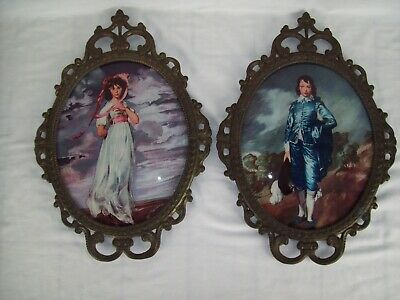 Set of Metal Oval Shaped Picture Frames With Domed Glass Nice Vintage Condition