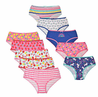 Girls 5 Pack Briefs Pants Knickers Underwear Unicorn Design Size 2-13 Years
