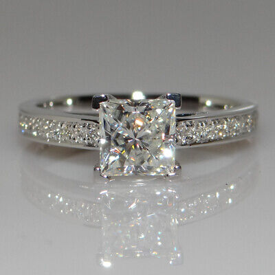 100% REAL 925 Sterling Silver Crystal AAA Cubic Zirconia Engagement Ring Square