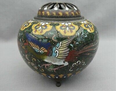 A Beautiful Cloisonne Incense Holder - Foil Inclusions - Flying Bird & Butterfly