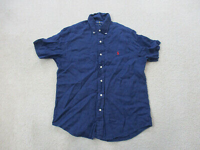 Ralph Lauren Button Up Shirt Adult Medium Blue Red Pony Linen Casual Mens