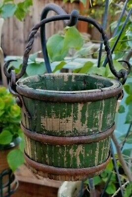 Original Antique Wooden Berry Basket Bucket Cast Iron Handle Green Paint