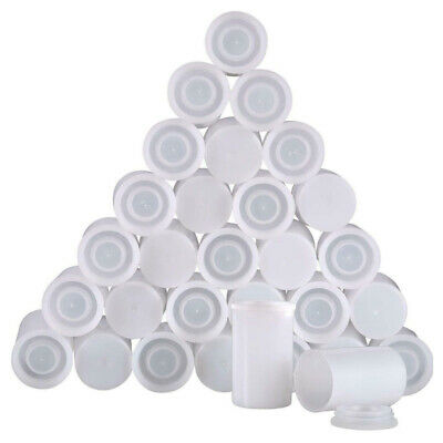 50PCS Plastic White Film Canister with Lids Storage Container Empty Bottle 35mm