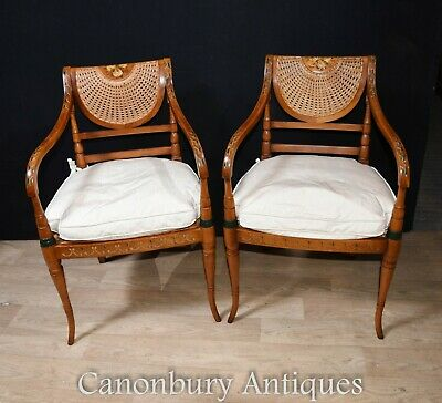 Pair Regency Antique Arm Chairs Painted