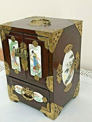 Vintage Unusual Chinese Jewel Box with Hand painted Porcelain panels +Lock & Key