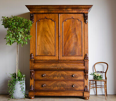 Antique Victorian Mahogany Linen Press Wardrobe Compactum with Shelves Drawers