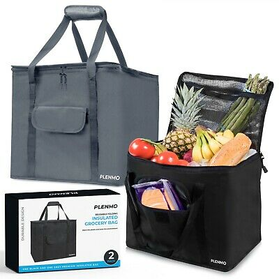 Extra Large Insulated Reusable Grocery Bag Heavy Duty Nylon w/Mesh Pocket (2 pc)