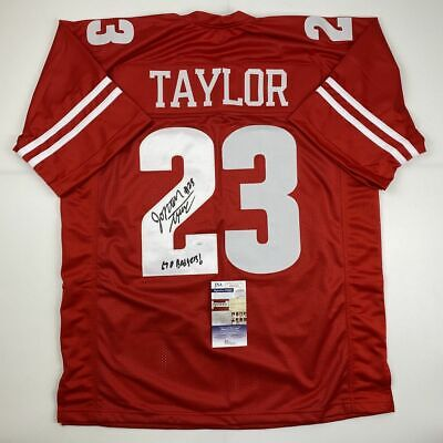Autographed/Signed JONATHAN TAYLOR Inscribed Wisconsin College Jersey JSA COA