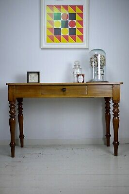 Antique Vintage Satinwood Side Hall Console Desk Table Turned Legs Gillows Style