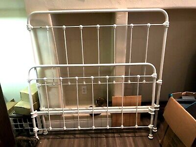 Antique Ornate Cast Iron Full Size Bed Frame Headboard with side rails