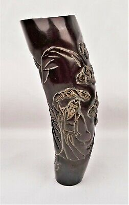 Vintage Chinese Exquisite Hand Carved Ox Horn Statue Shou Lao Carving