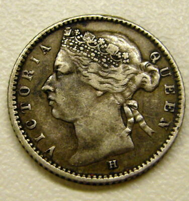 1882-H Queen Victoria Straits Settlements Silver 10 Cent Coin XF