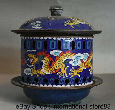 "8"" Rare Old Chinese Cloisonne Copper Qing Dynasty Dragon Phoenix Chafing Dish"