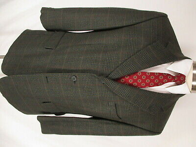 Brooks Brothers Mens Brown Plaid 3 Btn Cashmere Wool Sport Coat 42S