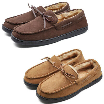 Mens Loafer Moccasin Slippers Warm Plush Lining Microsuede Slip On Shoes Flats