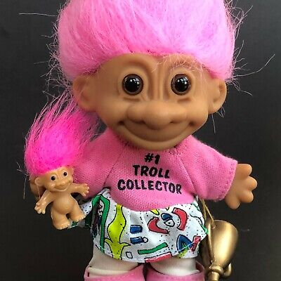 #1 Troll Collector Russ Troll with Trophy and Tiny Doll Pink Hair Collectible
