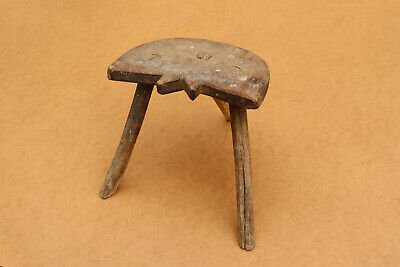 Old Antique Primitive Wooden Wood Chair Three Legged Milking Stool Tripod 19th