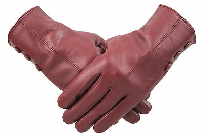 Ladies Red Leather Gloves Women Soft Fleece Lined Winter Casual Driving Warm
