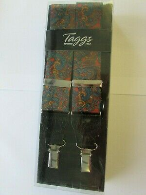 Mens Paisley Satin Print Braces With Leather Tabs &  Rhodium Clip End Fittings