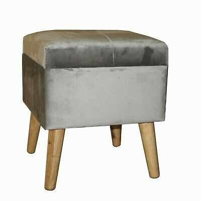 Grey Square Storage Footstool Dressing Table Stool Small Ottoman MIN1940