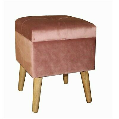 Pink Square Storage Footstool Dressing Table Stool Small Ottoman MIN1939