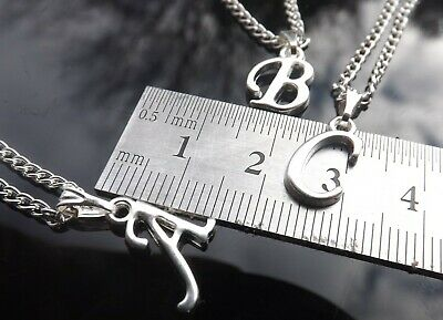 Personalised Initial Necklace with Silver Plated Scroll Letter Pendant