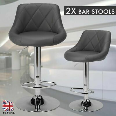 Set of 2 Leather Bar Stools Adjustable Height Swivel Pub Counter Dining Chair UK
