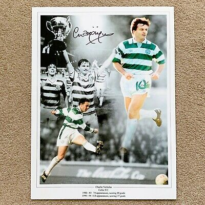 CHARLIE NICHOLAS CELTIC HAND SIGNED PHOTO AUTHENTIC + COA - 16x12