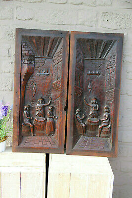 Antique French pair breton wood carved cabinet panels