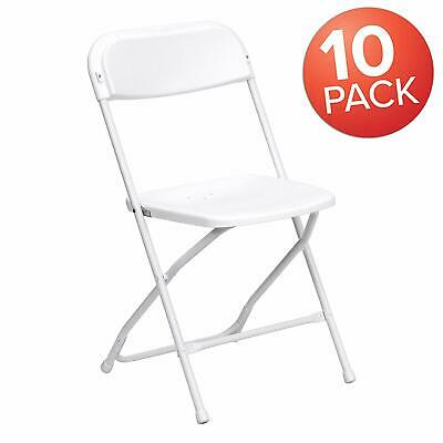 Flash Furniture HERCULES Series 800 lb. Capacity Premium White Plastic-Set of 10