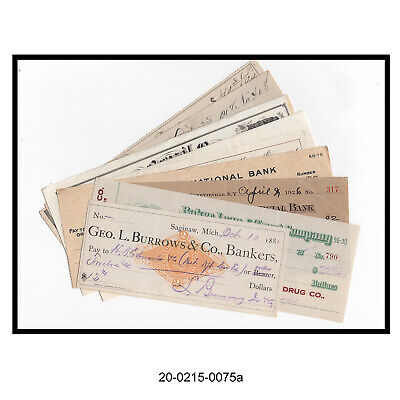 Lot of 9 Different Antique Bank Checks