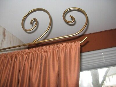 Modern Style Swing Arm Curtain/Drapery Rod in Antique Metal Gold Finis