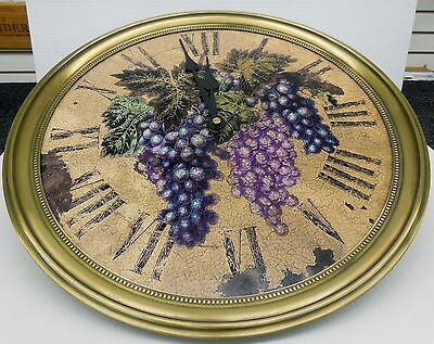 "14"" Antique Looking Round Clock With Antique Brass Rim- Grape Design"