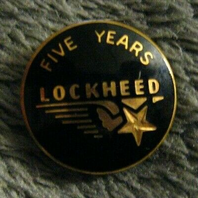 Lockheed Corporation Company 5 Year Pin - Vintage Airplane Aerospace Aircraft