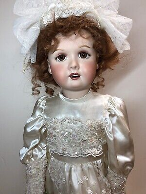 """26"""" All Bisque French Repro Marked Moncheri Paris Beautiful Redhead Bride #B"""