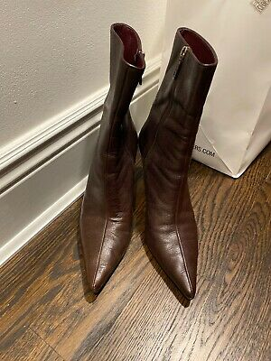 Gucci Chocolate Brown Womens Leather Calf Zippered Boots- 8 1/2