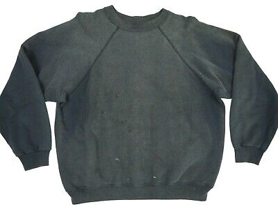 Thrashed Vintage Sweatshirt Raglan Sun Faded Black Made In Usa Xl Distressed