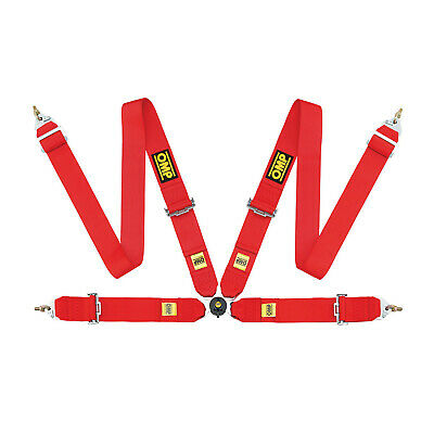 Genuine OMP 4 - point Safety Belts FIA, DA801 red