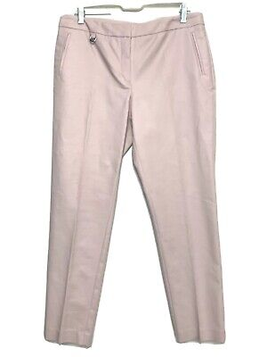 Adrianna Papell Cotton Blend Light Pink Slim Fit Womens Ankle Dress Pants Sz 10