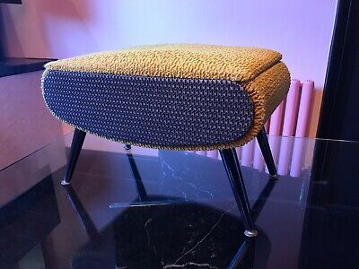 vintage 60's stool, gold and black with lidded compartment, sewing box.