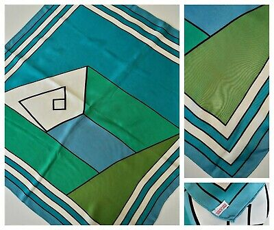 1960s ACETATE SCARF~Made in Japan~BLUE/GREEN Block Color Geometric Cubist Print