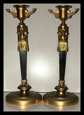 Stunning pair of antique Egyptian Revival gilt bronze candlesticks. Must see!