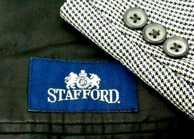 Stafford Wool Tan Black Houndstooth Blazer Sport Suit Coat Classic Fit Size 44L