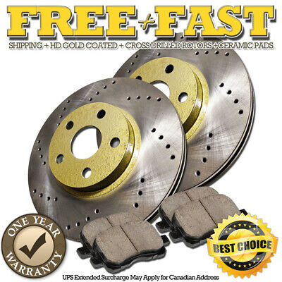 G0519 REAR Drilled GOLD Rotors Ceramic Pads FOR 2009 2010 2011 Town & Country