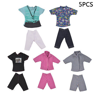 5 Sets Mini For Barbie Ken clothes Tops Pants Boy Coat Casual Suits  Clothe