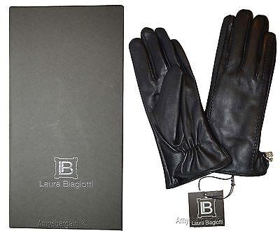 Leather Gloves Italian Women's Winter Gloves Black Dress Gloves Brand New in Box