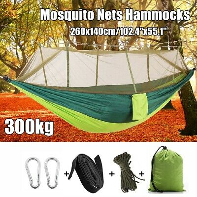 "102""x55"" Outdoor Double Camping Hammock Tent Hanging Bed Swing w/ Mosquito Net"
